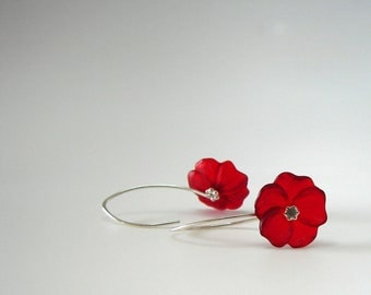 Lucite Flower Earrings - Crimson Red with Sterling Silver