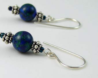 Azurite Stone Earrings Sterling Silver Blue Green Casual Dangles Everyday Jewelry Boho Style