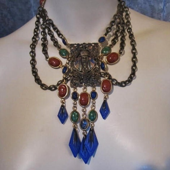 Egyptian Revival Art Deco 1920s, 1930s Buckle Necklace, Tut Tut Tut, Scarabs and Cobalt Czech Glass