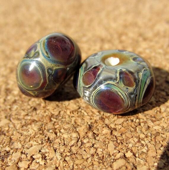 Lampwork Glass Beads silver purple portals round sra