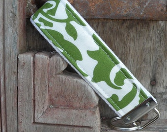 Key Chain-Key Fob-Wristlet- Moss on White-READY TO SHIP