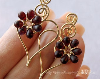 Charming Hearts Earrings in 14k GF, Very Dark Red Glass Flowers, Handmade Earrings, Heart and Flowers Earrings, Wire Wrapped Earrings