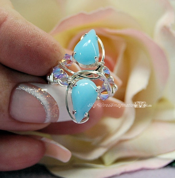 Baby Blue Beautiful Hand Crafted Wire Wrapped Ring Signature Design Fine Jewelry
