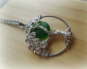 Forrest Green Moon in a Tree of Life Necklace-Emeral Green-May Birthstone-Sterling Silver