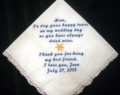Mother of the Bride with Starfish and gift box, includes shipping in the US 148S Personalized Wedding Handkerchief