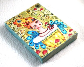 Art Print on Wood Block, Mexican Garden Girl and Birds Illustration, Artist Trading Card, Watercolor Storybook, Green Yellow Blue Teal