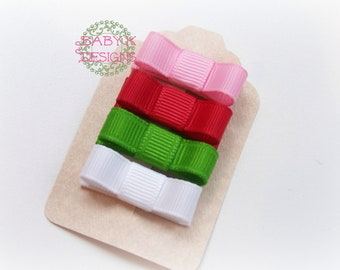 Starwberry Shortcake Bows Red Green White Pink Baby Bow  / Baby Tuxedo Bow No Slip Mini Snap Clip Fine Hair /Set 4 Itty Bitty Newborn Bows