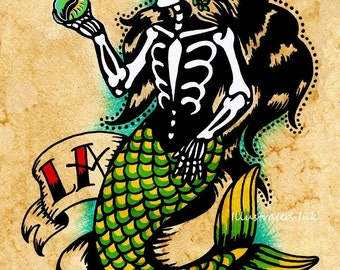 Day of the Dead Mermaid Tattoo Art LA SIRENA Loteria Print 5 x 7, 8 x 10 or 11 x 14