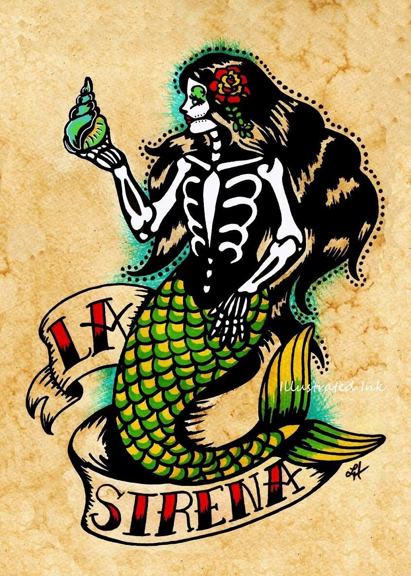day of the dead mermaid tattoo art la sirena loteria print 5 x. Black Bedroom Furniture Sets. Home Design Ideas