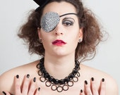Rhinestone Eye Patch, Glam, Pirate, 6 Colours,  as worn by Model Velvet dAmour on the French Tv show la Ferme Celebrites en Afrique