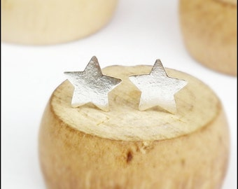 7 x 7 mm Star Flat Silver Stud Earring, Thin 925 Silver Post Ear Stud, Friendship earrings star pin, Cartilage Piecing Unisex YOU CAN CHOOSE