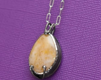 Yellow Beach Stone Necklace Pendant Sterling Silver OOAK Handcrafted New Jersey