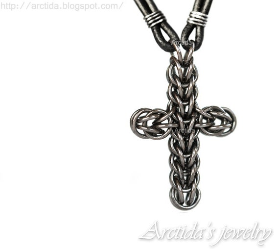 mens jewelry mens necklace celtic cross necklace chainmaille. Black Bedroom Furniture Sets. Home Design Ideas