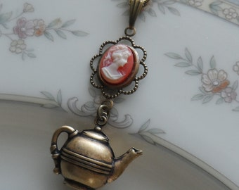 Reserved-Time for Tea, Cameo and Teapot Necklace- Brass Ox