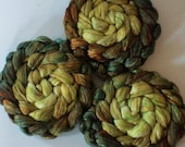 Roving for spinning hand dyed luxury silk blends gradient roving 2ozs Green Man PRE Order