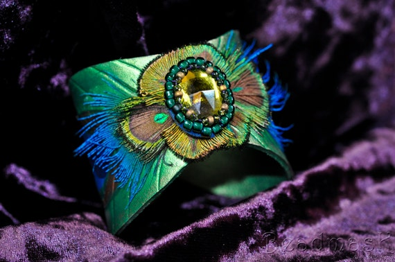 Leather Peacock Feather Cuff With Real Feathers And Beaded Cabochon Accent