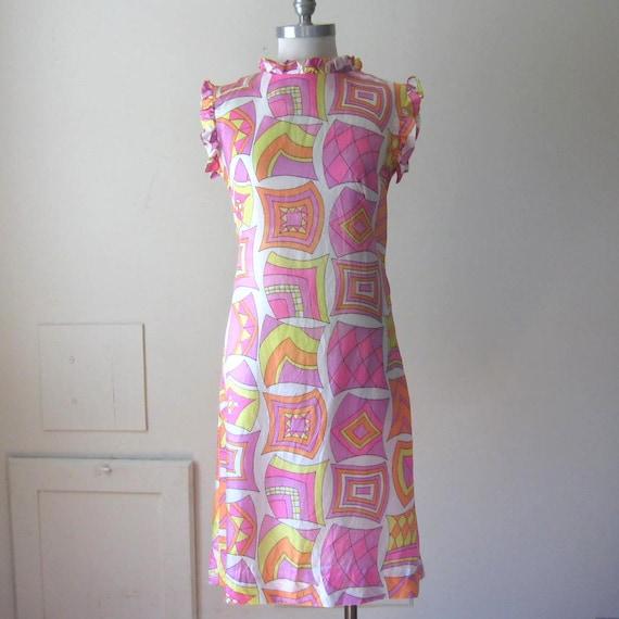 1960s Mod Dress Bright Colors Psychedelic Dress 60s Shift Dress