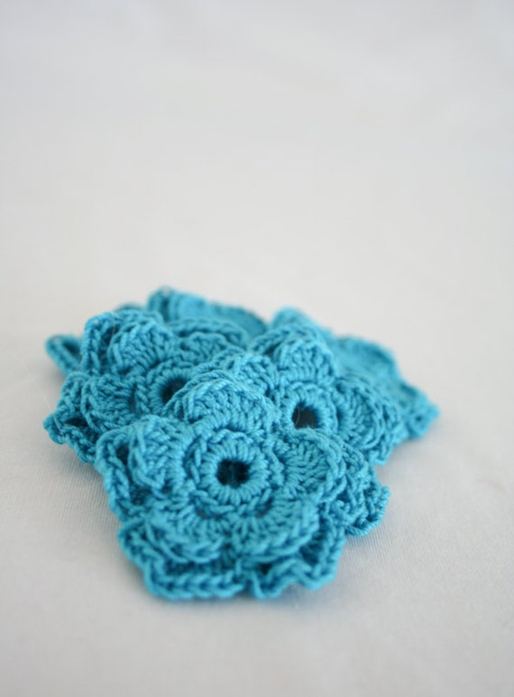 Medium Crochet Flower Pattern : Medium Crochet Flower Applique in Turquoise by ...