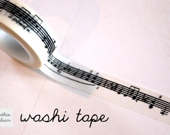 Music Note Washi Tape - 10.5 yard roll Japanese Deco Tape Black and White