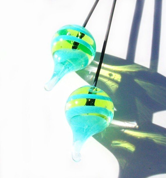 Tornado Pods- Lime and Aqua- handmade lampwork glass headpins in lime green and aqua-one pair on 22 gauge steel wire