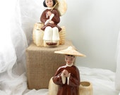 Pair of vintage ceramic Asian figurine planters from the 40s. Made by Walter Wilson, Pasedena, CA