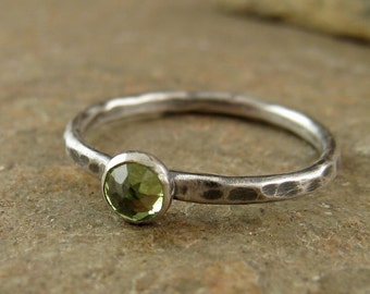 Sterling Silver Peridot Ring Promise Engagement Ring Jewelry Hammered Stacking Ring Custom Size