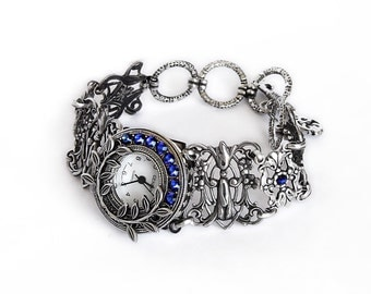 Silver Victorian watch bracelet filigree ladies wrist watch Gothic Vintage style Blue Swarovski unique women watches silver floral romantic