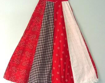 Vintage Gingham Handkerchief Long Maxi Skirt S