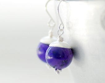 Purple Earrings, Dyed Turquoise Semi Precious Stones, Sterling Silver, Made in Canada, Stone Earrings