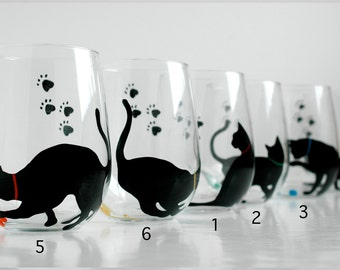 Black Cat Stemless Wine Glasses - Set of 2 Hand Painted Black Cat Silhouette Glasses
