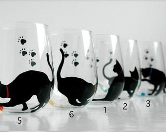Black Cat Stemless Wine Glasses - Set of 2 Hand Painted Black Cat Silhouette Glasses