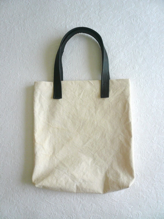 simple tote BAG - canvas and leather