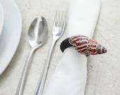 Shell Leather Napkin Ring Holder - Beach Home Decor