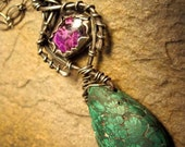 Sugalite and Malachite Fantasy Sterling Silver Metalsmithed Necklace