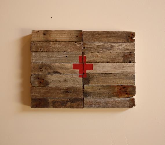 Red Cross - Modern Industrial Design - Reclaimed Driftwood Artwork