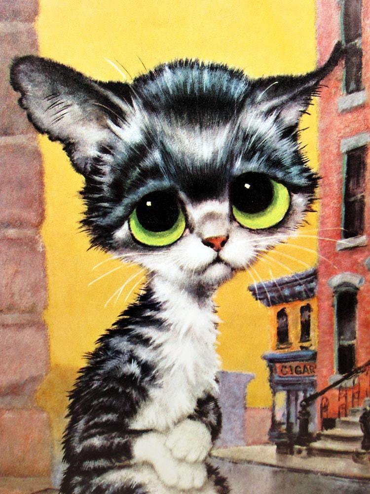 Vintage Gig Pity Kitty Illustration Print Big Eye Cat