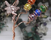 Rainbow Fairy Garden Plant Stake - Glass Copper Metal Sculpture - Yard Art Outdoor Lawn Pond