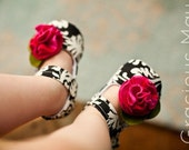 Victorian Rose Mary Jane black and pink damask baby and toddler shoes