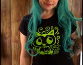 Large Baby Fang the Vampire Kitten Womens shirt tshirt Black Lime Green L
