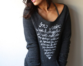 Jane Austen Quote - Pride and Prejudice - In vain have I struggled - Mr. Darcy Proposal - Eco Fleece Sweatshirt - MADE TO ORDER