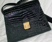 Black Mock Croc Crocodile Patent Leather or Vinyl Box Purse Cross Body Strap Vintage Late 1980s or Early 1990s