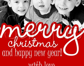 Cutout Font Custom Christmas Holiday Photo Card