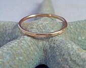 14K Gold Ring Band Hammered Stacking Ring
