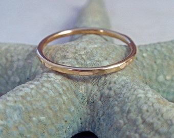 14K Gold Ring Band Hammered Stacking Ring