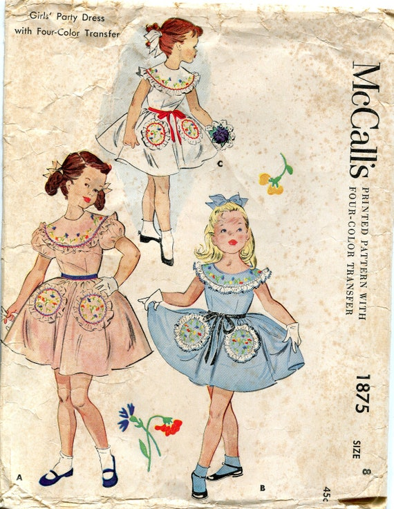 Vintage 1950s Girl's Party Dress Pattern, McCall's 1875, Size 8
