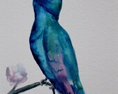 RESERVED  -  Original watercolor painting - hummingbird