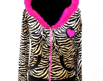 Crazy cat lady zebra print & heart patch zipper cat ears hoodie | kitten play ears kitty ears