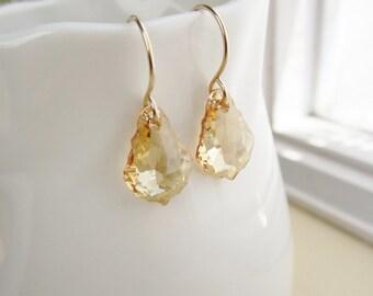 Champagne gold earrings, crystal earrings, Swarovski crystal, baroque teardrops, handmade ear wires