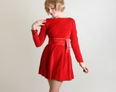 Vintage 1960s Mini Dress - Red Hot Velvet Long Sleeve Dress - Small - zwzzy