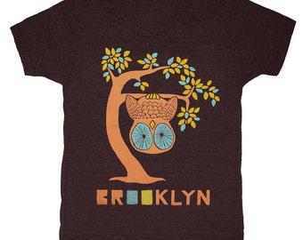 Brooklyn Tree - Unisex Mens T-shirt Tee Shirt Cute Retro New York Branch Leaves Upside Down Owl Woodland Forest Bird Tri Black Tshirt